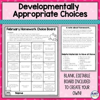 Kindergarten Homework Choice Menu February