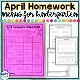 Kindergarten Homework Menu April | Homework Calendar