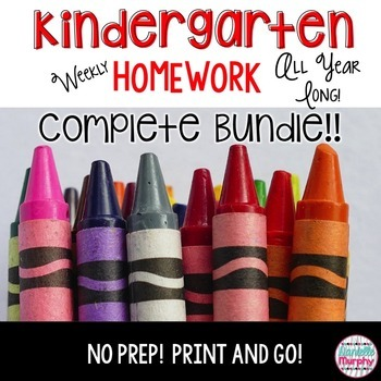 Kindergarten NO PREP Math and Literacy Homework Yearlong BUNDLE
