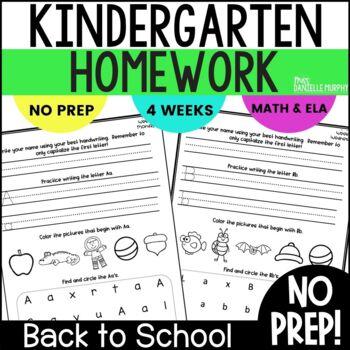 Homework Math and Literacy Weeks 1-4 (September)--Kindergarten