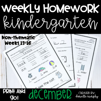 December Kindergarten NO PREP Math and Literacy Homework