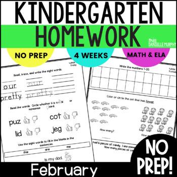 February Kindergarten NO PREP Math and Literacy Homework