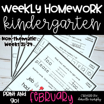 February Kindergarten NO PREP Math and Literacy Homework