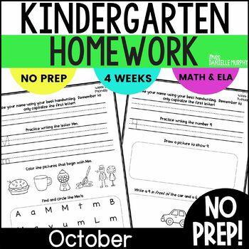 October Kindergarten NO PREP Math and Literacy Homework