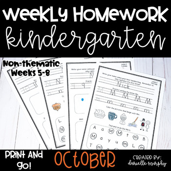 Homework Math and Literacy Weeks 5-8 (October)--Kindergarten