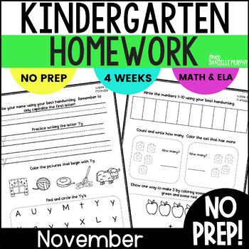 November Kindergarten NO PREP Math and Literacy Homework
