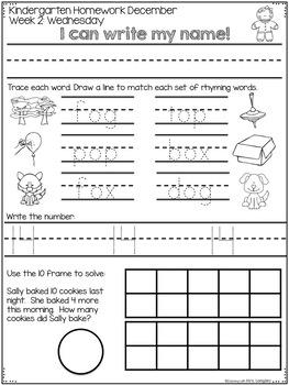 Kindergarten Homework DECEMBER
