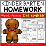 Kindergarten Homework- December (English & Spanish Directions) Aligned to CC