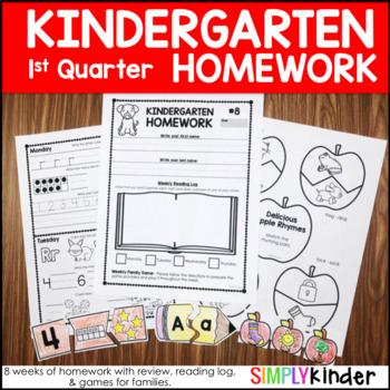 Kindergarten Homework - First Quarter