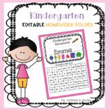 Kindergarten Homework Folder with sight Word List
