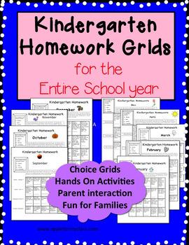 Kindergarten Homework Grids for Entire School Year