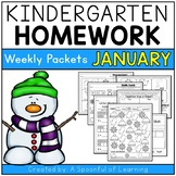Kindergarten Homework- January (English Only) Aligned to CC