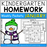Kindergarten Homework- January (English & Spanish Directions) Aligned to CC