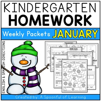 Kindergarten Homework- January (English & Spanish Directio