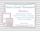 Kindergarten Homework: January Home Sweet Homework