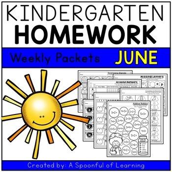 Kindergarten Homework- June (English Only) Aligned to CC