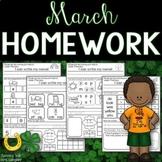Kindergarten Homework MARCH