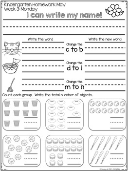 Kindergarten Homework MAY