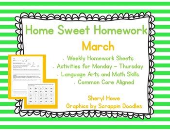 Kindergarten Homework: March Home Sweet Homework
