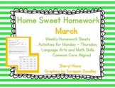 Kindergarten Homework: March Home Sweet Homework