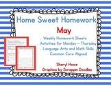 Kindergarten Homework: May Home Sweet Homework