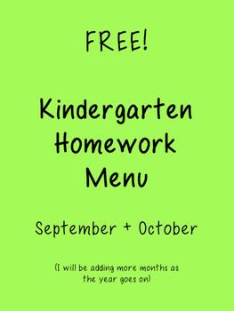 Kindergarten Homework Menu FREE