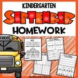 Kindergarten Homework / Morning Work   September   Back to School
