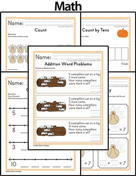 November Homework or Class Activities - Kindergarten & First Grade