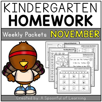 Kindergarten Homework- November (English Only) Aligned to CC