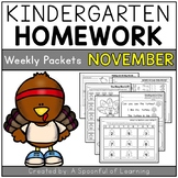 Kindergarten Homework- November (English Only) Aligned to CC