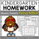 Kindergarten Homework- November (English & Spanish Directions) Aligned to CC