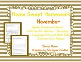 Kindergarten Homework: November Home Sweet Homework