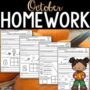 Kindergarten Homework OCTOBER