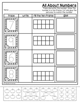Kindergarten Homework- October (English & Spanish Directions) Aligned to CC