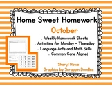 Kindergarten Homework: October Home Sweet Homework
