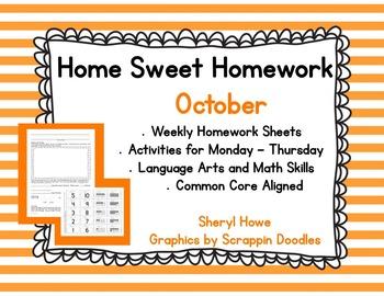 Kindergarten Homework: October Home Sweet Homework
