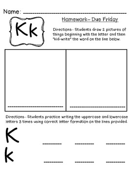 Kindergarten Homework Pack