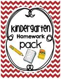 Kindergarten Homework Pack