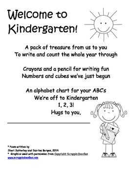 Kindergarten Homework Pack Poem