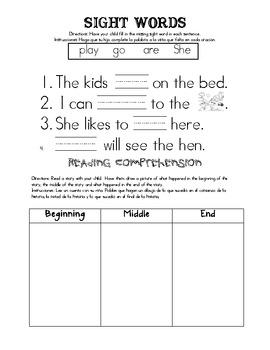 Kindergarten Homework Packet 7