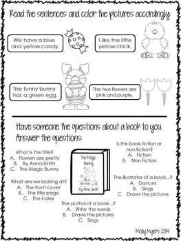 Kindergarten Homework Packet - April - English and Spanish