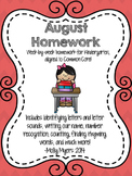Kindergarten Homework - August - English and Spanish - Aligned to CC