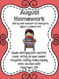 Kindergarten Homework - August - English and Spanish - Ali