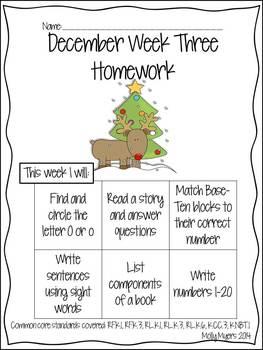 Kindergarten Homework Packet - December - English and Spanish - Aligned to CC