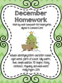 Kindergarten Homework Packet - December - English and Spanish - Aligned to CC