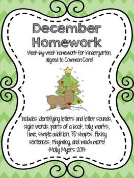 Kindergarten Homework Packet - December - English and Span