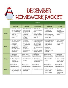 Kindergarten Homework Packet December *Common Core*