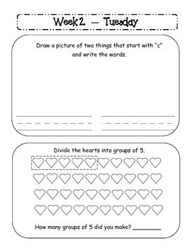 Kindergarten Homework Packet February *Common Core*