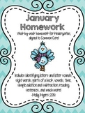 Kindergarten Homework Packet - January - English and Spanish - Aligned to CC