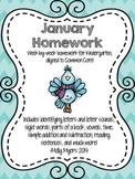 Kindergarten Homework Packet - January - English and Spani